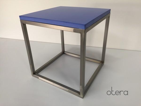 Beistelltisch, Couchtisch aus Beton & Edelstahl in blau